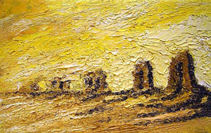 view-paint-rome-landscape-campagna-romana/ancient-aqueduct-of-claudius-to-rome-italian-art-roman-campagna-paint-alessandro-nesci